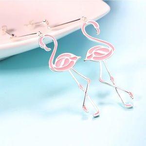 Pink Flamingo Silver Plated Dangle Stud Earrings